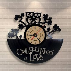 Owl you Need is Love Clock dxf file