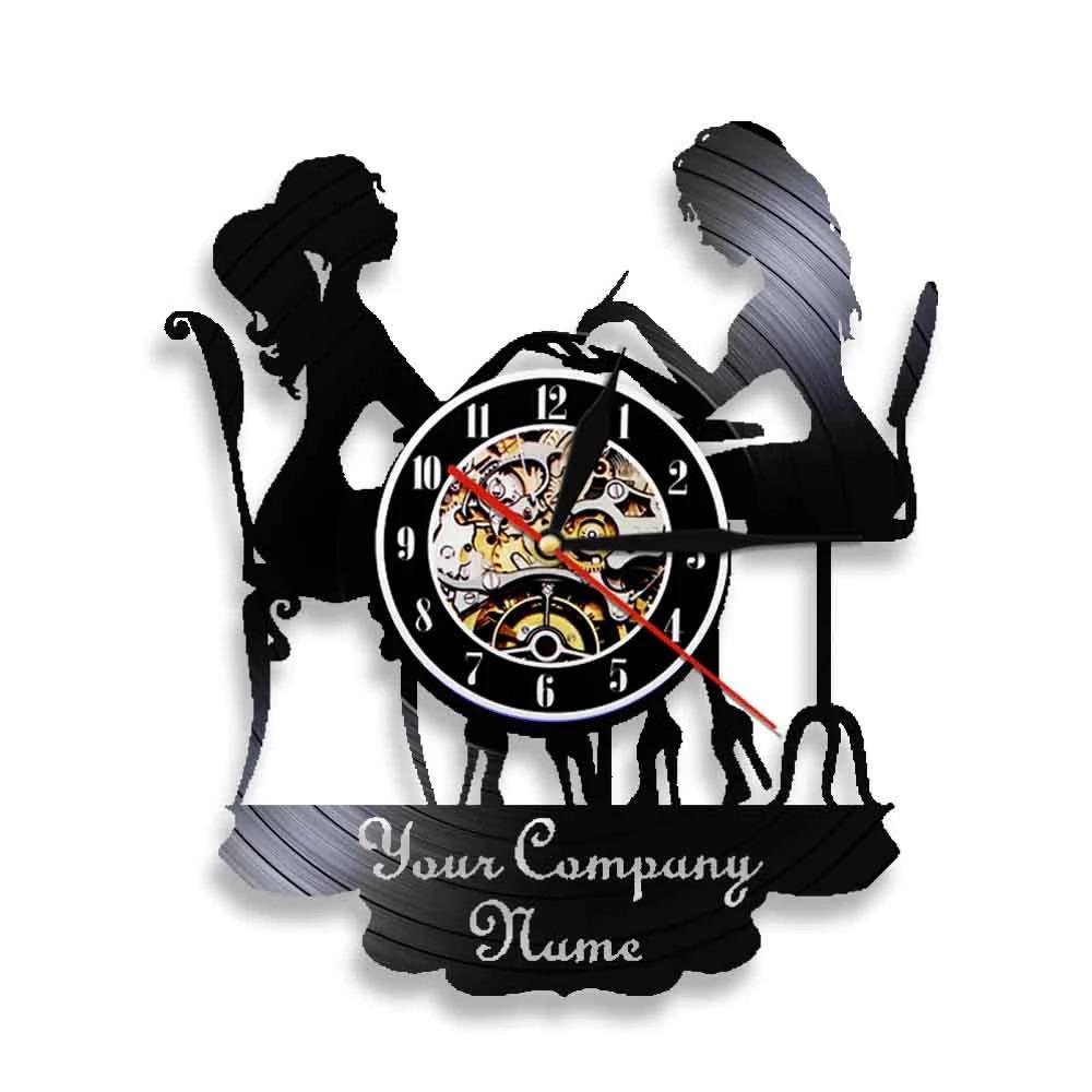 Laser Cut Beauty Shop Nail Salon Wall Clock Manicure Salon Vinyl Wall Clock Free Vector