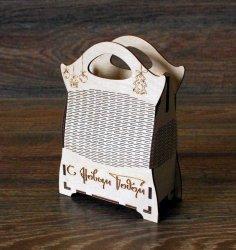 Laser Cut Wooden Decorative Bag Free Vector