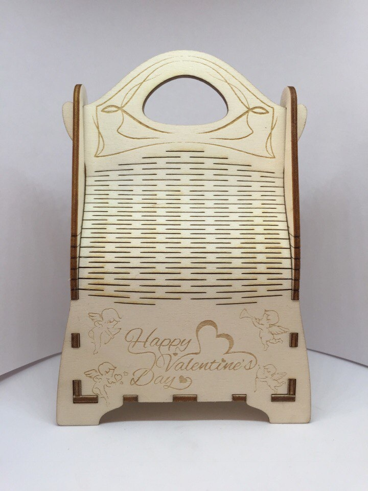 Laser Cut Champagne Gift Box Wooden Champagne Wine Bag Free Vector