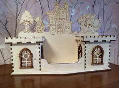 Laser Cut Castle Pencil Holder Desk Storage Organizer DWG File