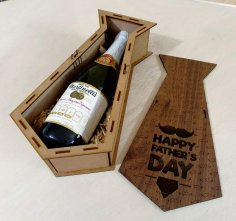 Laser Cut Engraved Potato Tie Personalised Wooden Wine Gift Box Fathers Day Free Vector