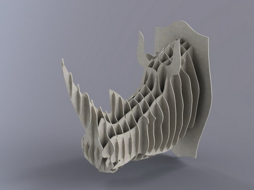 Laser Cut Rhino Head 4mm DXF File