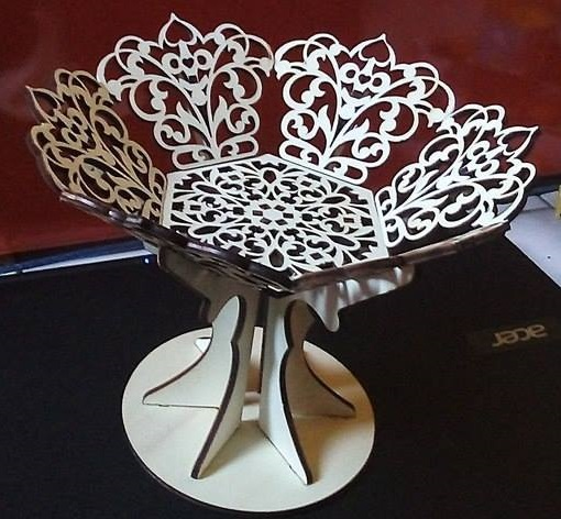 Laser Cut Wooden Fruit Bowl Candy Basket With Stand Free Vector