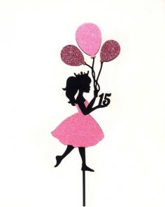 Laser Cut Princess Cake Topper Hot Air Balloon Girl Birthday Cake Decor Free Vector