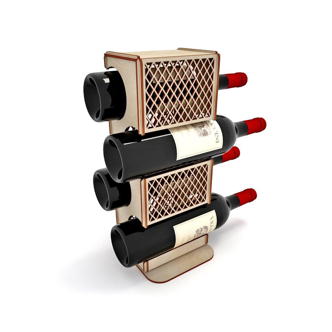 Laser Cut Wooden Wine Rack Wine Holder Wine Bottle Stand Display Stand Free Vector