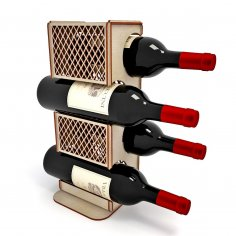 Laser Cut Wooden Wine Rack Wine Holder Wine Bottle Stand Display Stand Free Vector