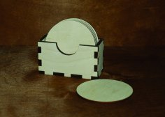 Laser Cut Napkin Holder Napkin Box With Coasters Free Vector