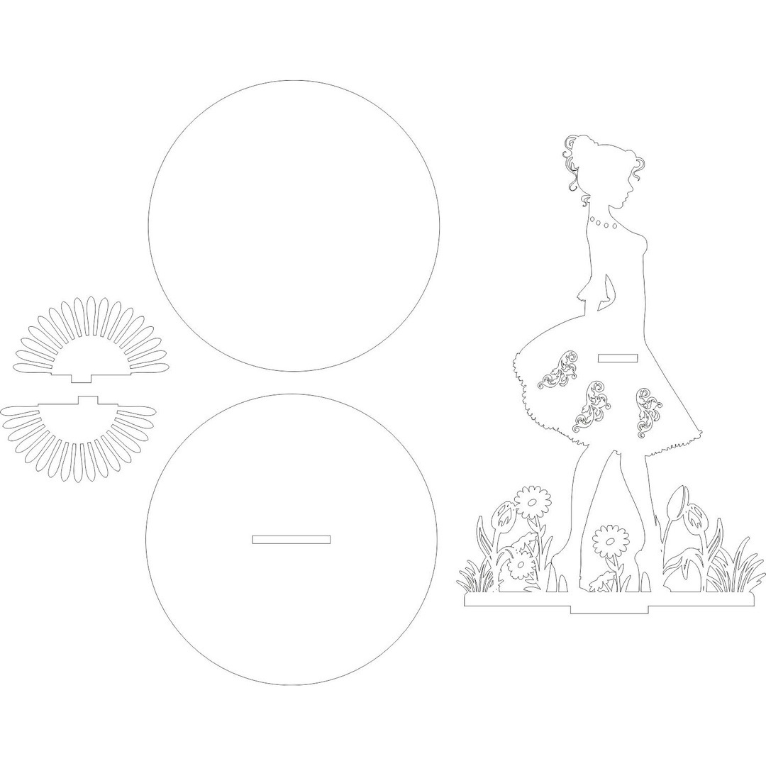 Laser Cut Napkin Holder Woman Standing In The Flower Garden DXF File