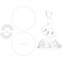 Laser Cut Napkin Holder Woman Standing In The Flower Garden DXF File
