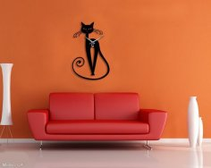 Laser Cut Cat Wall Clock Template Free Vector