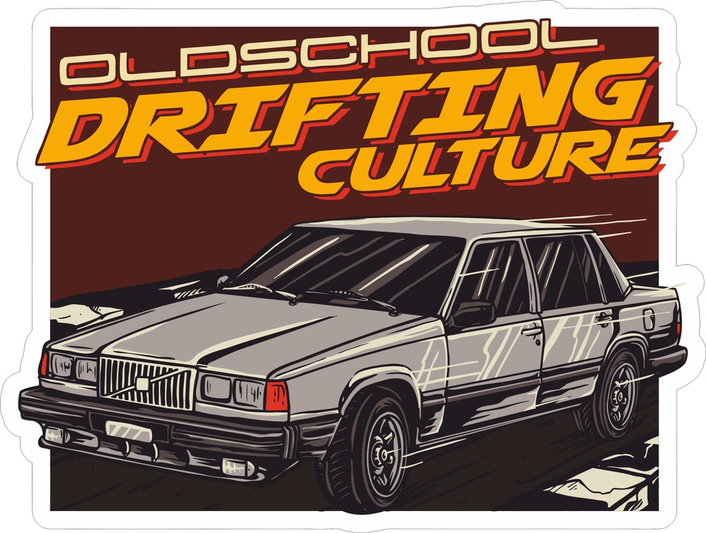Drifting Club Sticker Free Vector