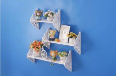 Laser Cut Wall Decorative Storage Shelf Flower Rack Free Vector