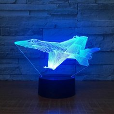 Aircraft Jet Model Airplane 3d Night Light Desk Lamp Laser Cut Acrylic Template Free Vector