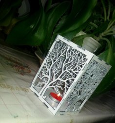 Wooden Tree Shadow Candle Lantern Laser Cut Template DXF File