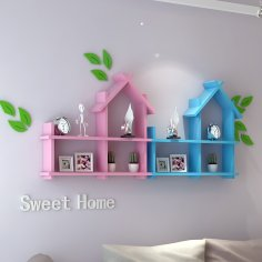 Laser Cut Shelf for Kids Room Template Free Vector