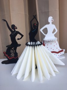 Laser Cut Female Flamenco Dancer Napkin Holder Free Vector