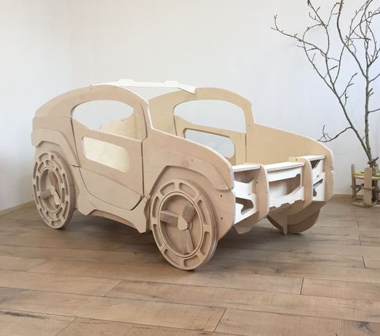 Laser Cut Jeep Bed for Kids Room Free Vector