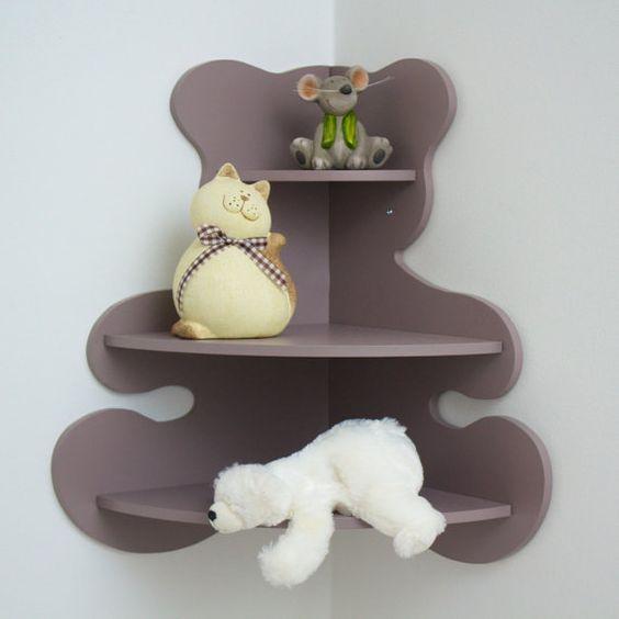 Bear Shaped Corner Shelf for Kids Room Laser Cut Free Vector