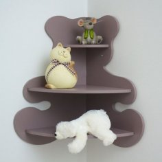 Bear Shaped Corner Shelf for Kids Room Laser Cut Free Vector