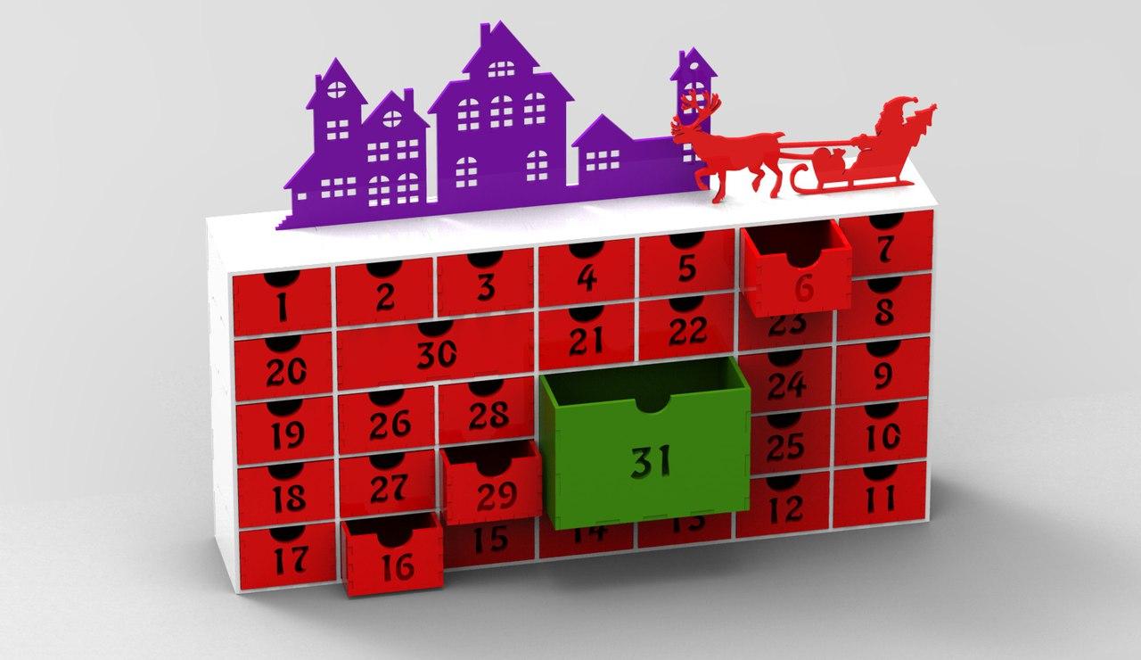 Christmas Advent Calendar 31 Day Calendar December Laser Cut Free Vector