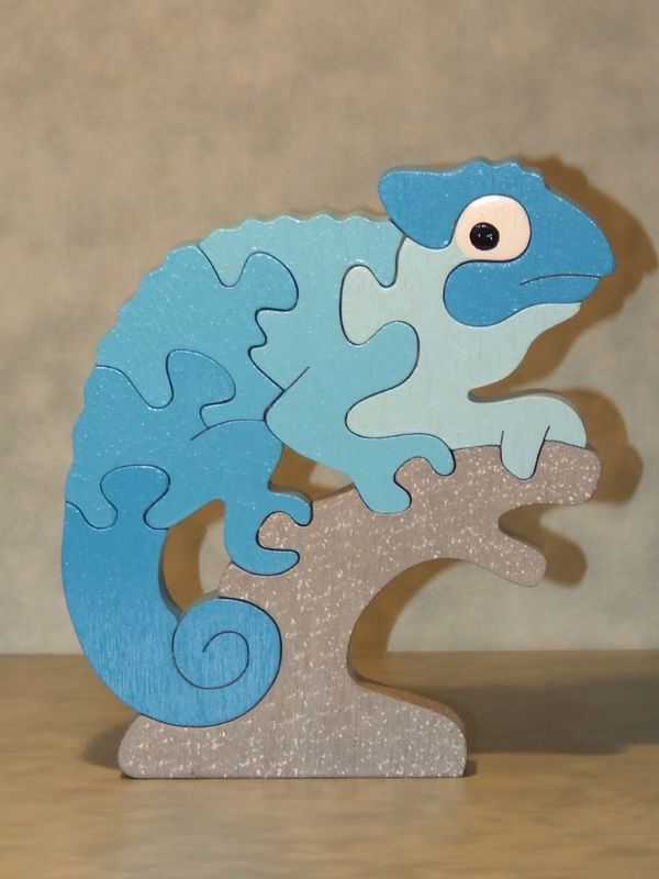 Laser Cut Chameleon Educational Puzzle Game For Children Free Vector