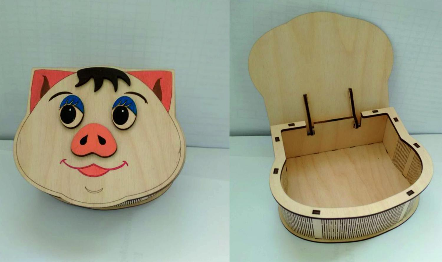 Plywood Pig Box With Lid Laser Cutter Project Free Vector
