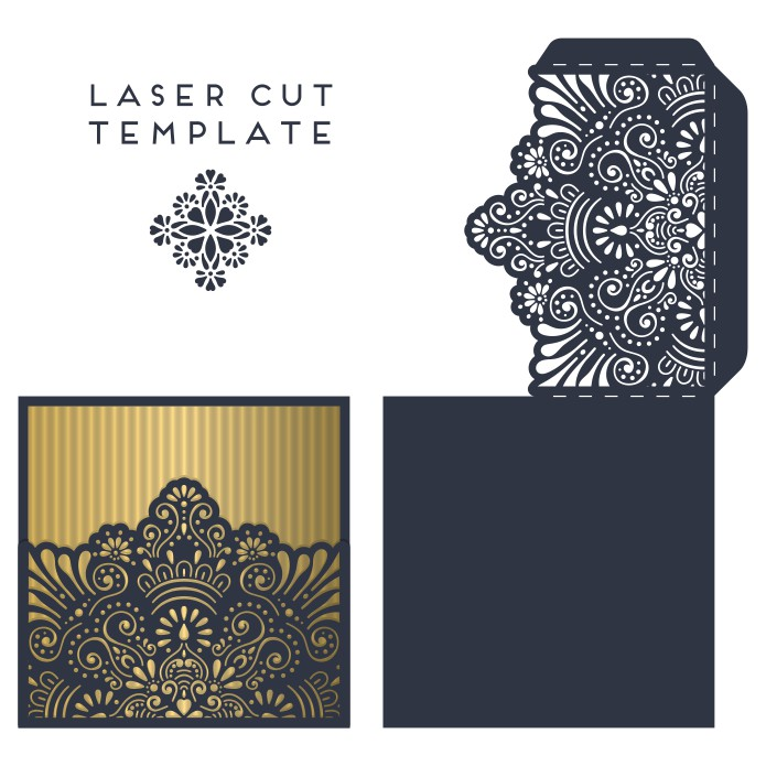 Laser Cut Invitation Card Template Free Vector