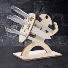 Laser Cut Spartan Kitchen Knife Stand Free Vector