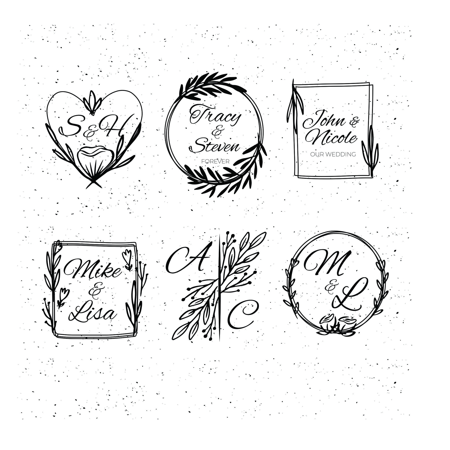 Laser Engraving Leaf Wreaths With Initial Free Vector