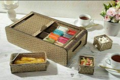 Laser Cut Tea Bag Box Free Vector