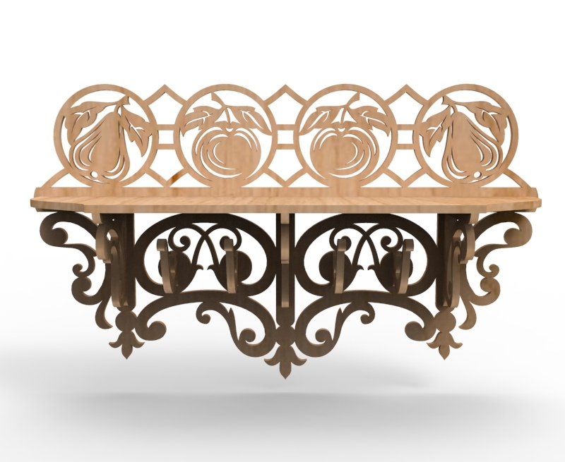 Laser Cut Wooden Wall Shelf Free Vector