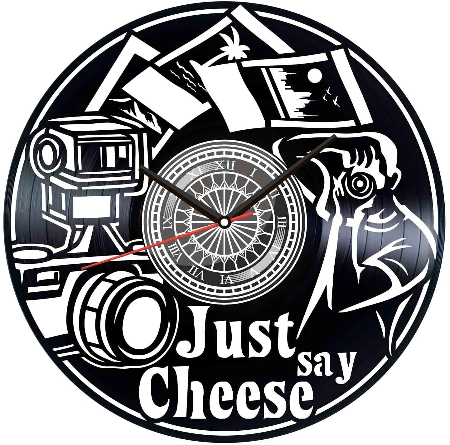 Laser Cut Just Say Cheese Vinyl Photography Clock Free Vector