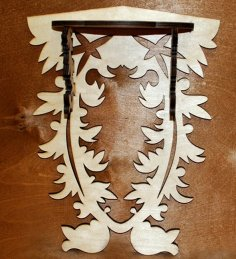 Laser Cut Wall Mounted Wood Shelf Free Vector