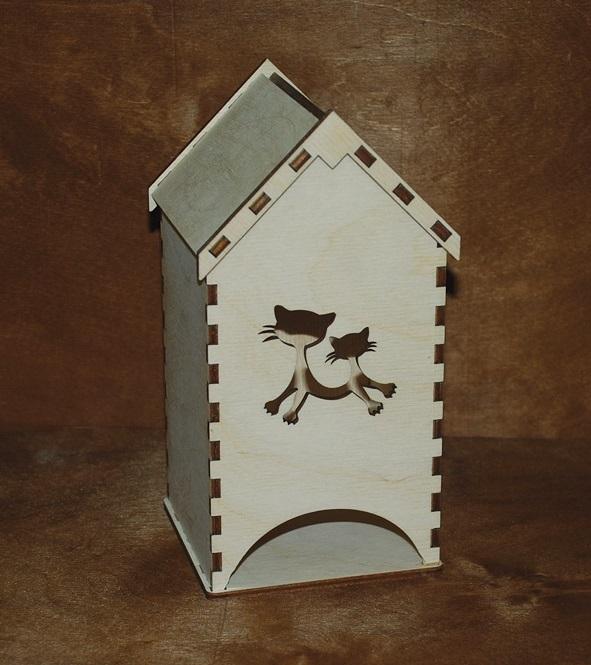 Laser Cut Tea House Tea Bag Dispenser Free Vector