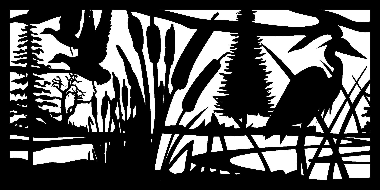 30 X 60 Ducks Cattails Herron Plasma Metal Art DXF File