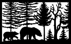 30 X 48 Two Bears Trees Plasma Art DXF File
