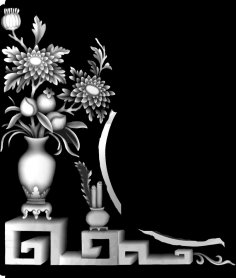 3d Grayscale Image Vase with Flowers BMP File