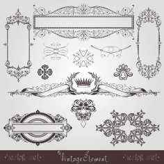 Vintage Set Element Free Vector