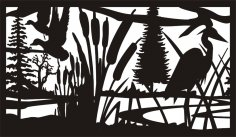 28 X 48 Deuck Cattails Heron Plasma Art DXF File