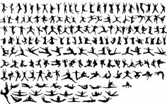 Silhouettes Jumping People Free Vector