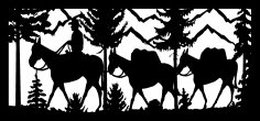 28 X 60 Hunter With Two Pack Mules Plasma Art DXF File