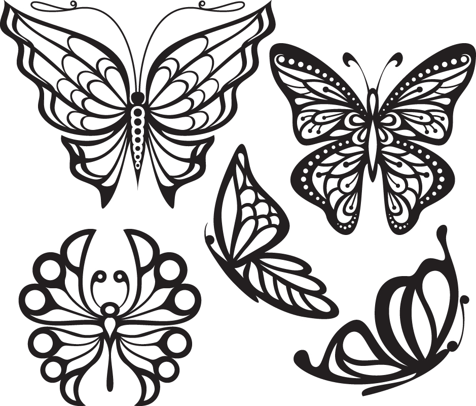 Set Of Butterfly Tattoos Free Vector