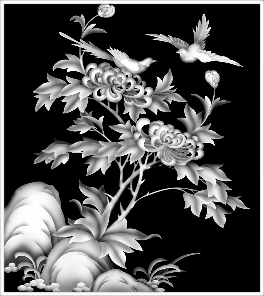 Grayscale Flower Picture BMP File