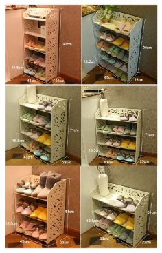 Laser Cut Shoe Shelves Decorative Storage Racks Free Vector
