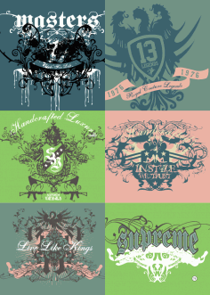 T-Shirt Print Design Vector Set Free Vector