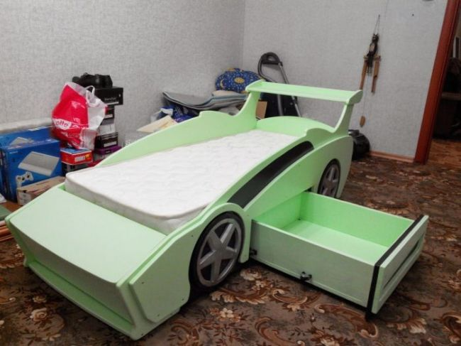 Kids Racing Car Bed With Drawer Laser Cutting Template Free Vector