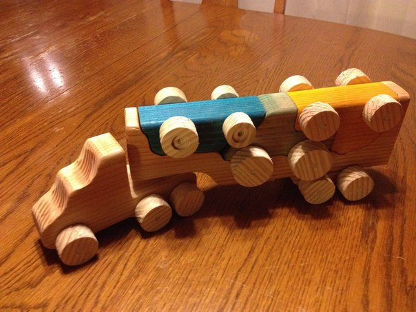 Wooden Toy Truck With Removable Toy Cars Laser Cut Template Free Vector
