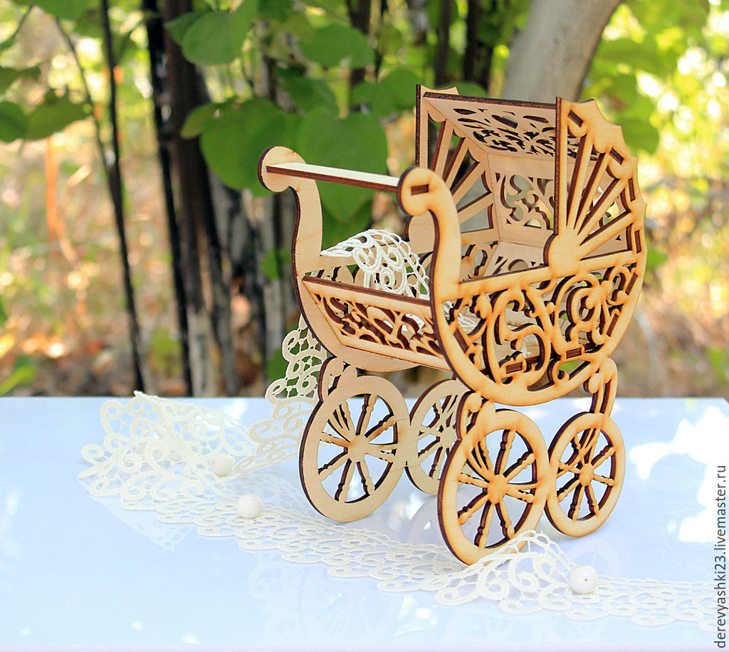 Laser Cut Baby Stroller Template Free Vector