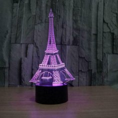 Laser Cut Eiffel Tower Acrylic 3D Illusion Lamp Free Vector